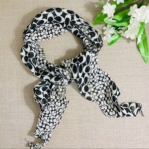 COACH Black & White 100% Silk Signature Scarf